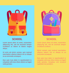 School rucksacks for boys or girls with stationery vector