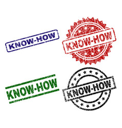 scratched textured know-how stamp seals vector image