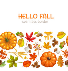 seamless border autumn leaves vector image