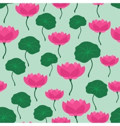 Seamless tropical pattern with stylized lotus vector