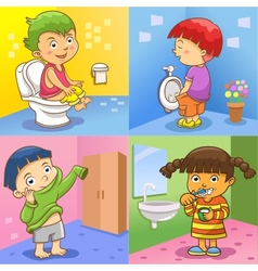 set child daily activities vector image