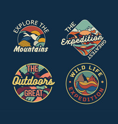 set four different camping logos or badges vector image