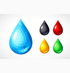 set of water honey blood petrol drops vector image