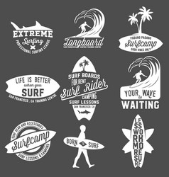 set vintage surfing labels badges and emblems vector image
