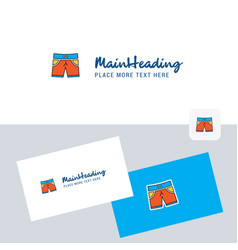 shorts logotype with business card template vector image