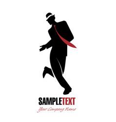 Silhouette of man dancing jazz-01 vector