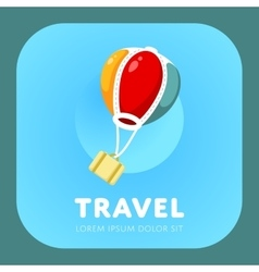 Simple air balloon logo vector