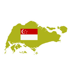 singapore map silhouette and flag vector image