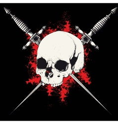 Skull and dagger black vector