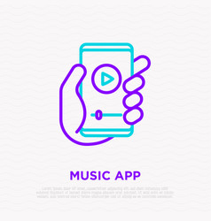 smartphone with music app in hand vector image