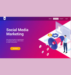 social media marketing 3d template vector image