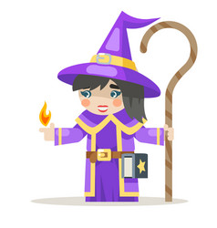 Sorceress layered girl mage warlock wisewoman vector