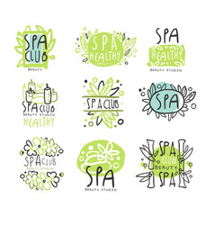 spa club set for label design health and beauty vector image