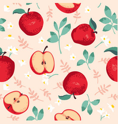 summer pattern with apples flowers and leaves vector image