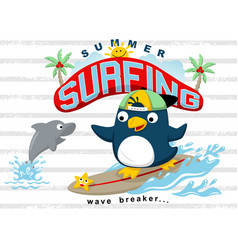 Surfing at summer with funny animals cartoon vector