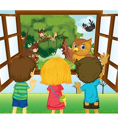Three kids watching the different animals vector