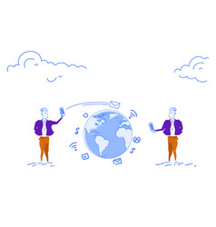 two businessmen using smartphone global chat vector image
