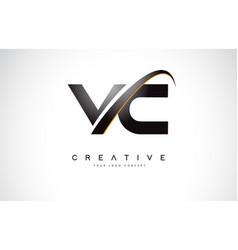 Vc v c swoosh letter logo design with modern vector