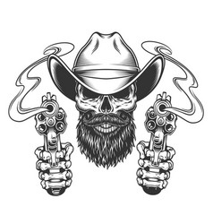 vintage bearded and mustached cowboy skull vector image
