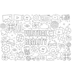 virtual reality background from line icon vector image