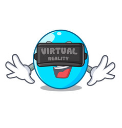 Virtual reality cartoon the number zero color blue vector