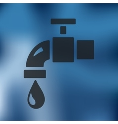 Water tap icon on blurred background vector