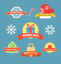 Winter discount labels set vector image