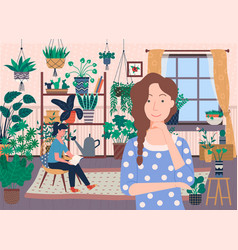 woman at home roommates at living room vector image