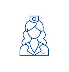 woman doctor nurse line icon concept woman vector image