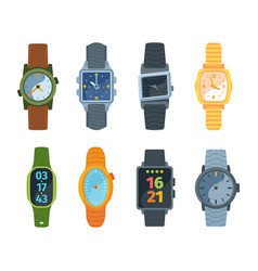 wristwatch set classic and modern watches vector image