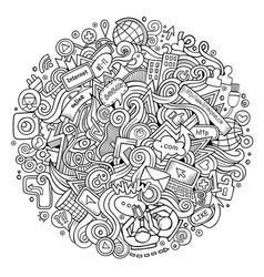 cartoon cute doodles hand drawn social media vector image