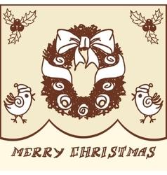 Christmas wreath doodles vector image