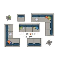 Sofas Armchair Set Furniture Pouf Carpet TV vector image vector image
