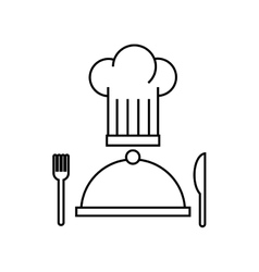 tray and chef hat restaurant menu vector image