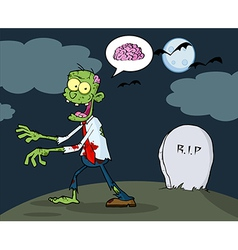 Zombie Walking With Hands In Night vector image