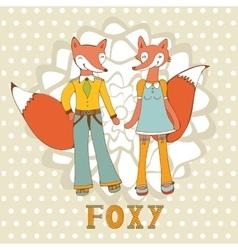 Adorable foxes couple vector