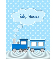 Baby shower for boy with sticker train vector