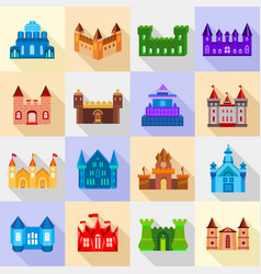 castle tower icons set flat style vector image vector image