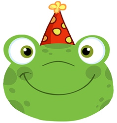 Frog Smiling Head With Birthday Hat vector image