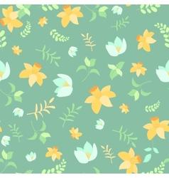 Seamless spring flower pattern vector image