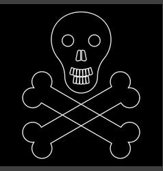 Skull and bones the white path icon vector