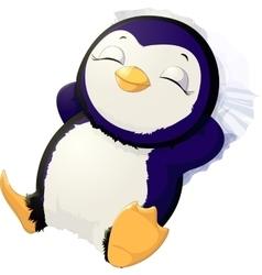 Sleep cute penguin vector image