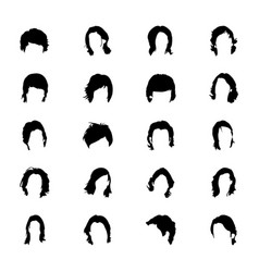 Solid icon designs of hair vector