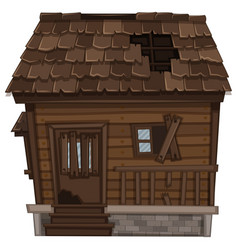 wooden house in bad condition vector image vector image