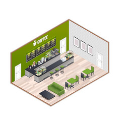 coffee house isometric interior vector image vector image