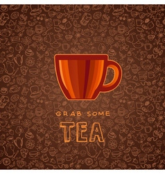 hand drawn tea and coffee background vector image vector image