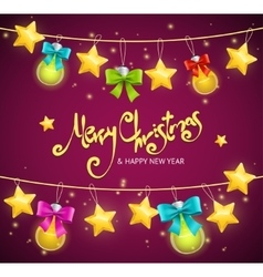 Merry Christmas Background with Garland and Text vector image