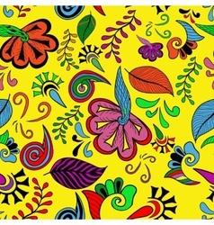 Seamless color abstract hand-drawn doodle pattern vector image vector image