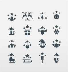 Set of 16 Christmas icons vector image vector image