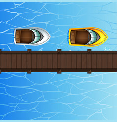two speed boats floating by the bridge vector image